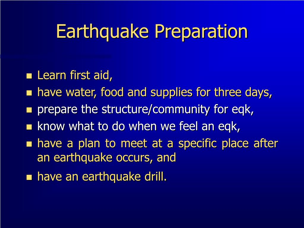 Earthquake Preparation