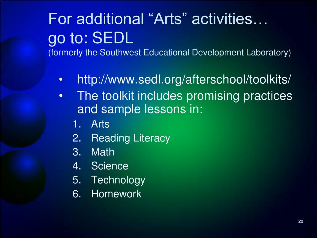 """For additional """"Arts"""" activities…"""
