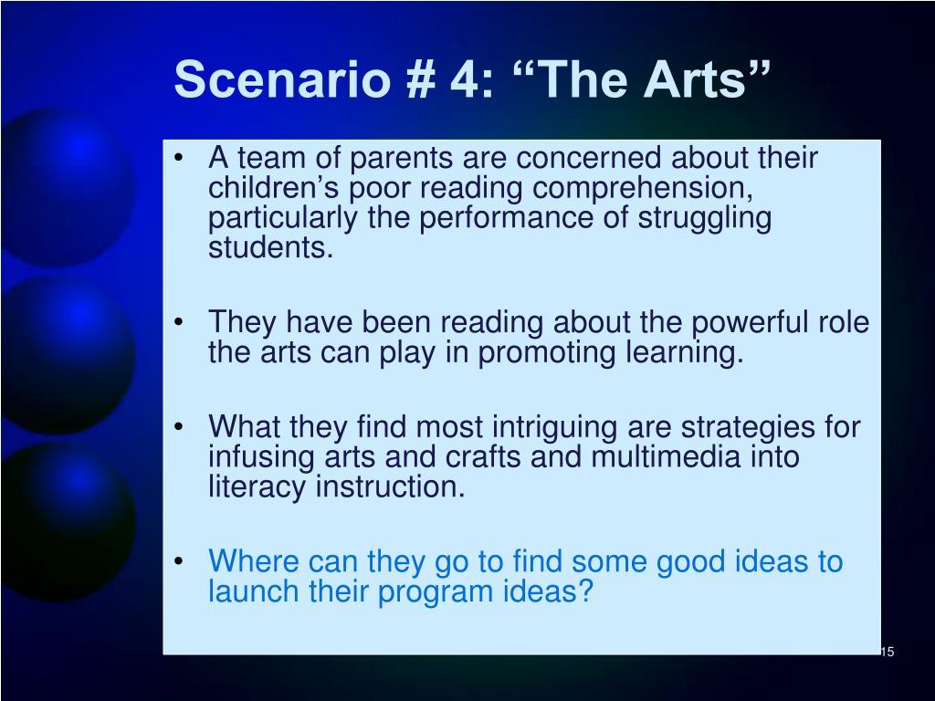 """Scenario # 4: """"The Arts"""""""