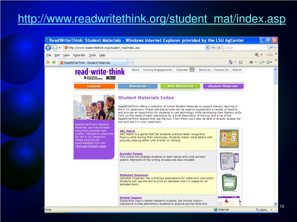 http://www.readwritethink.org/student_mat/index.asp