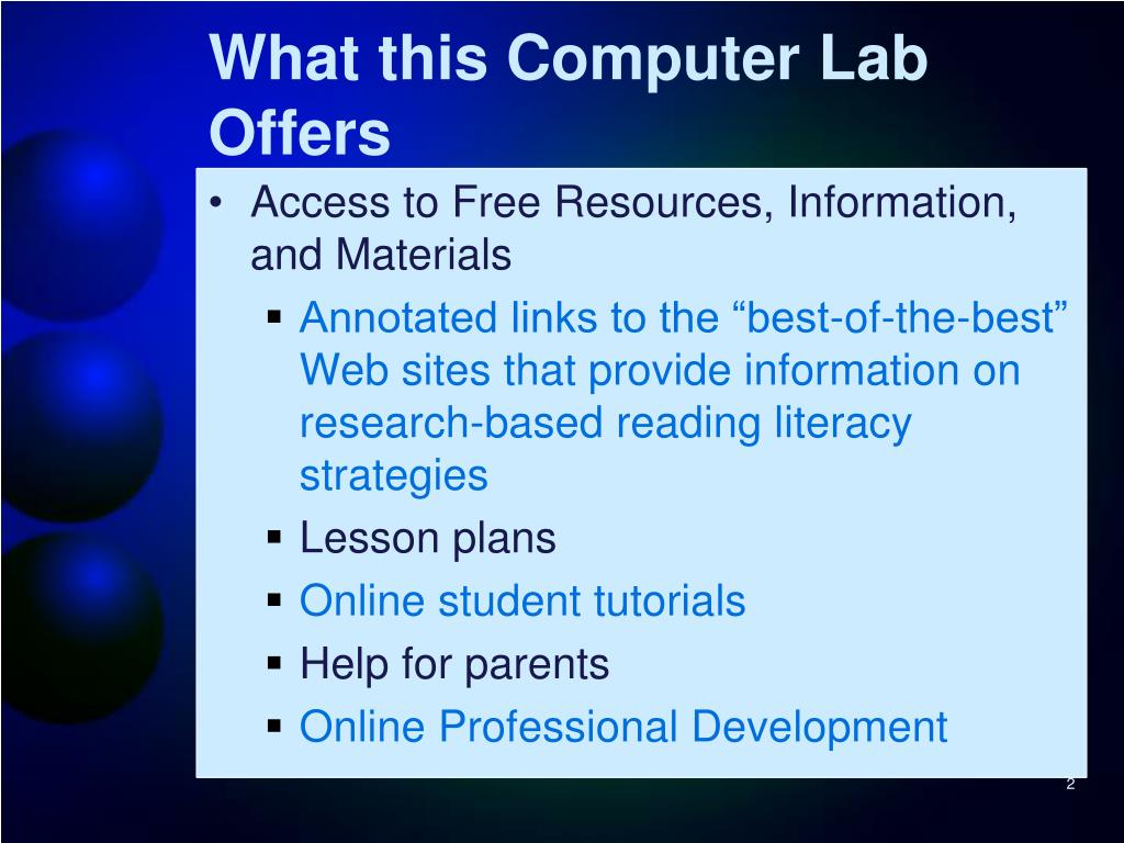 What this Computer Lab Offers