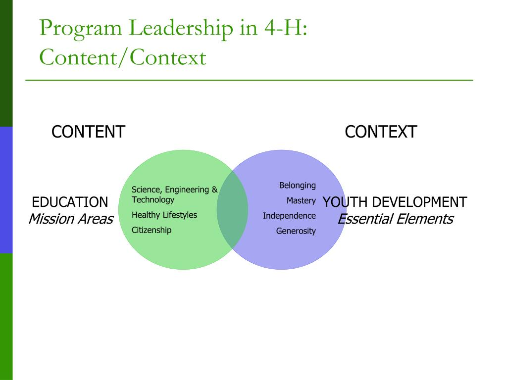 Program Leadership in 4-H:  Content/Context