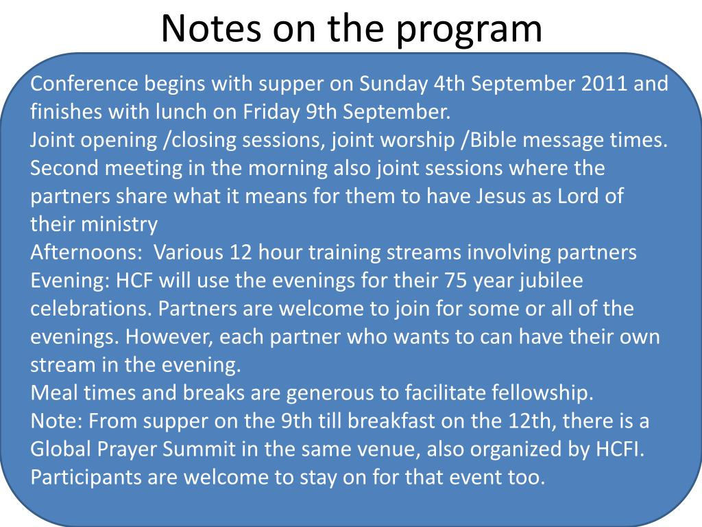 Notes on the program