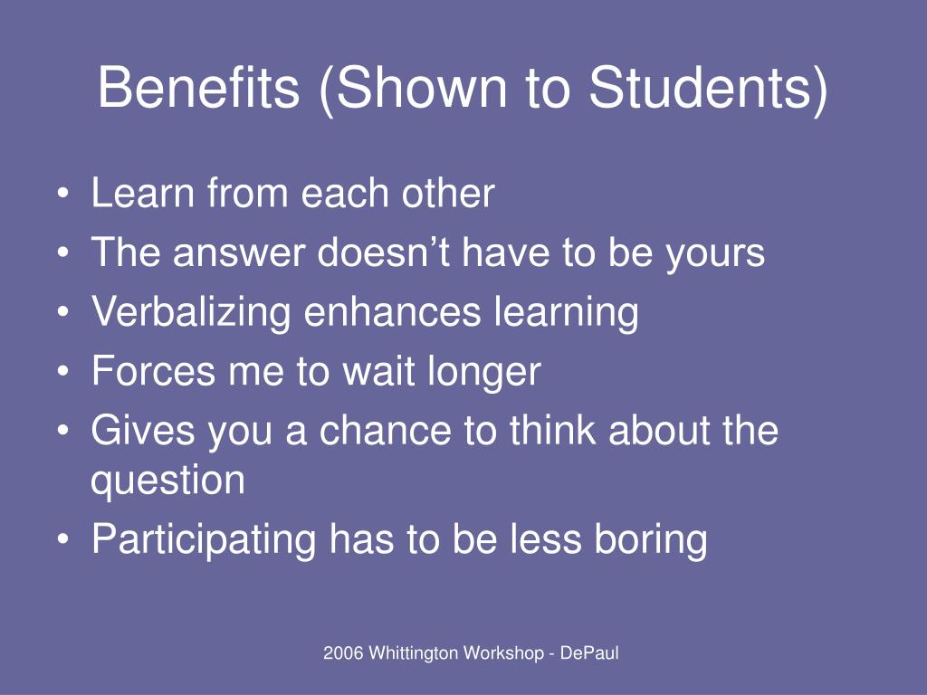 Benefits (Shown to Students)