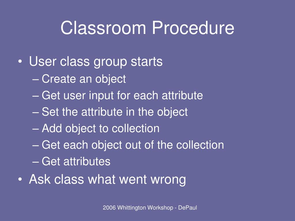 Classroom Procedure