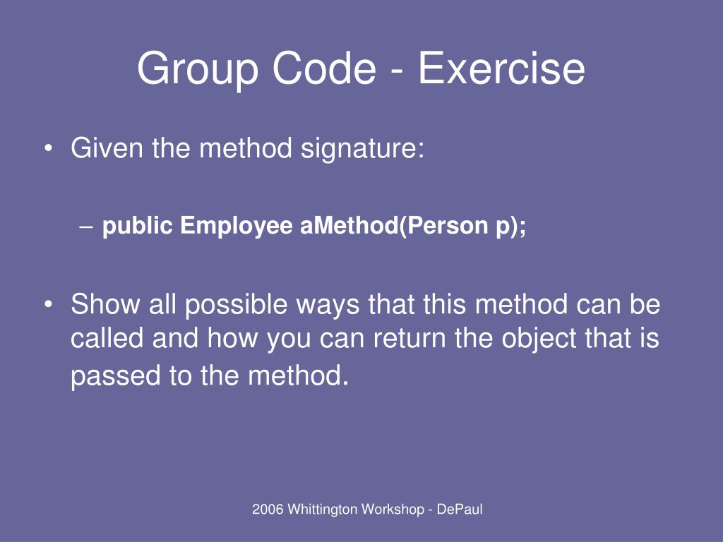 Group Code - Exercise