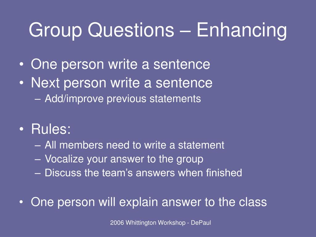 Group Questions – Enhancing