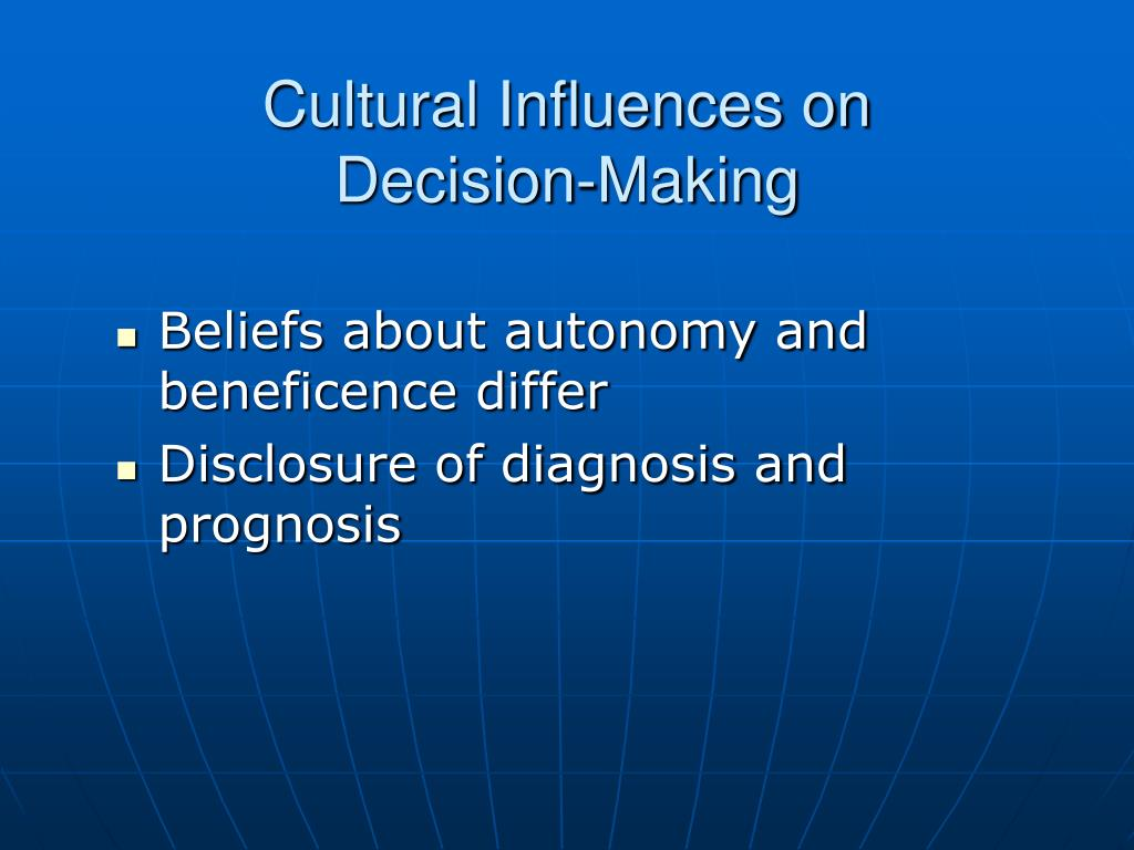 how does culture influence decision making Beyond financial decision-making, easterners and westerners perceive change through different lenses in one unpublished study, kwan and i found that chinese meteorologists expected more changes in weather conditions in twenty- four cities around the globe than did american meteorologists.