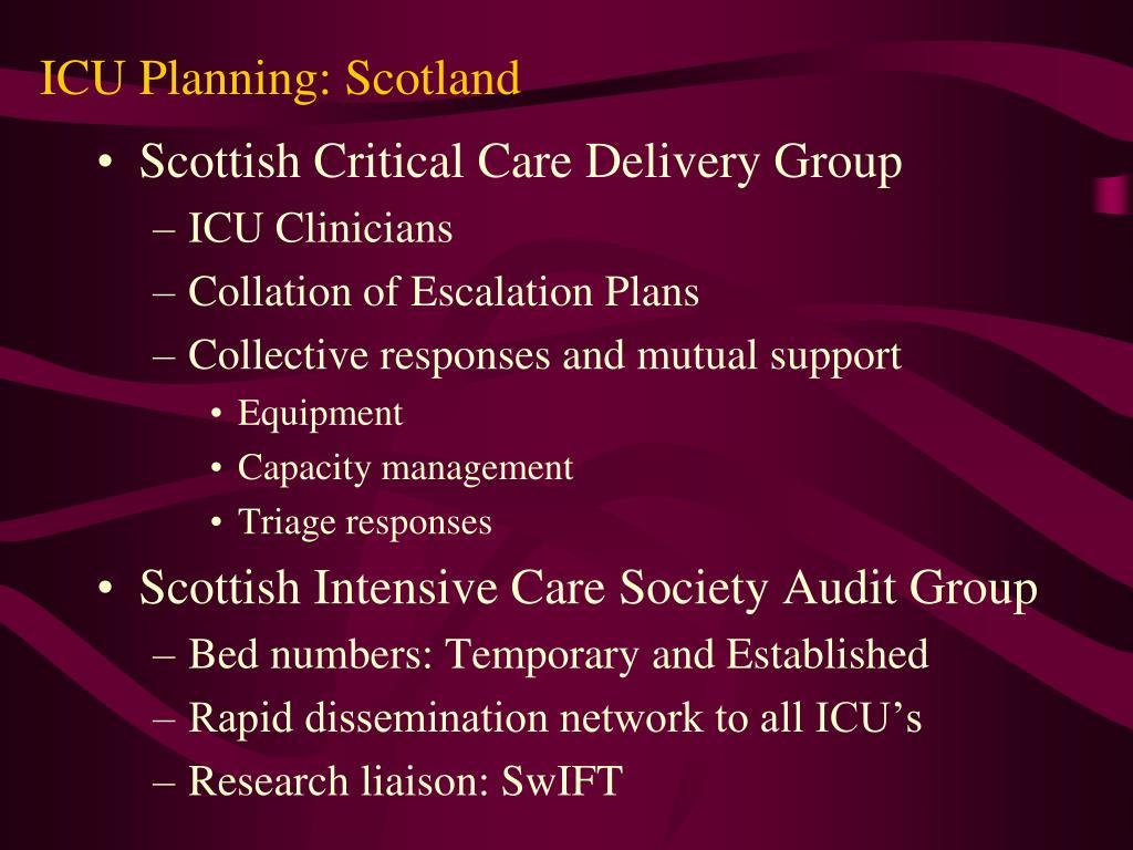 ICU Planning: Scotland