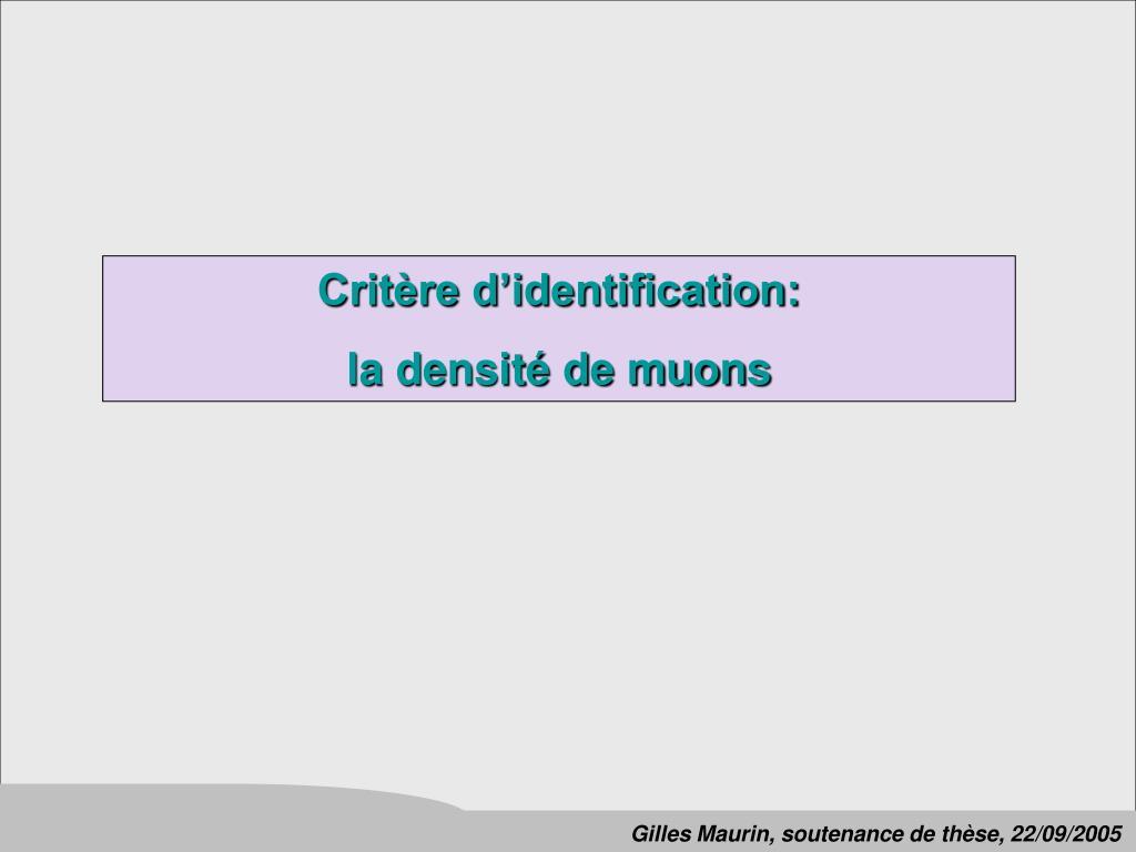 Critère d'identification: