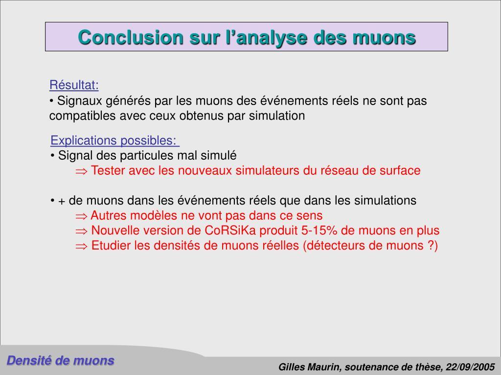 Conclusion sur l'analyse des muons