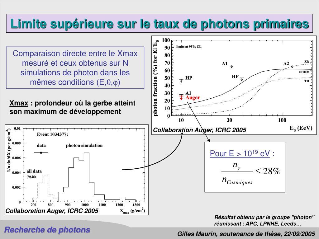 Limite supérieure sur le taux de photons primaires