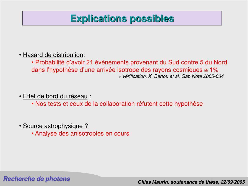 Explications possibles