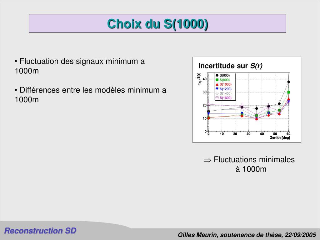 Choix du S(1000)