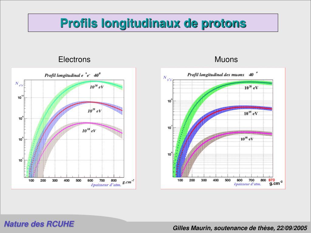 Profils longitudinaux de protons