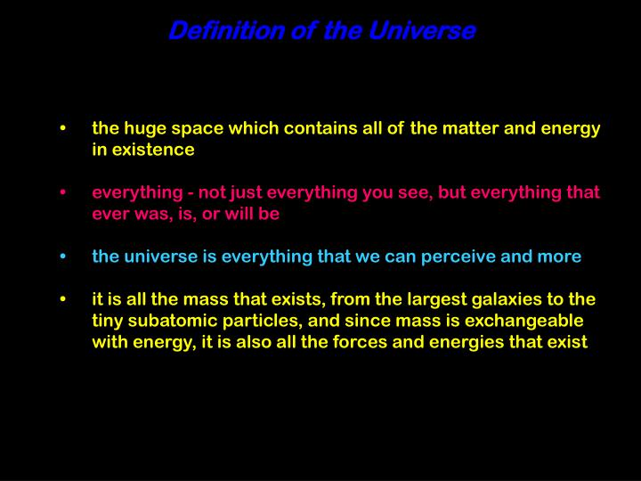 Definition of the Universe