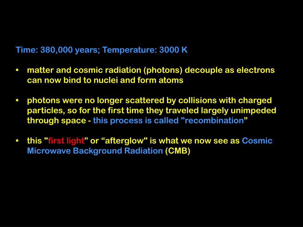 Time: 380,000 years; Temperature: 3000 K