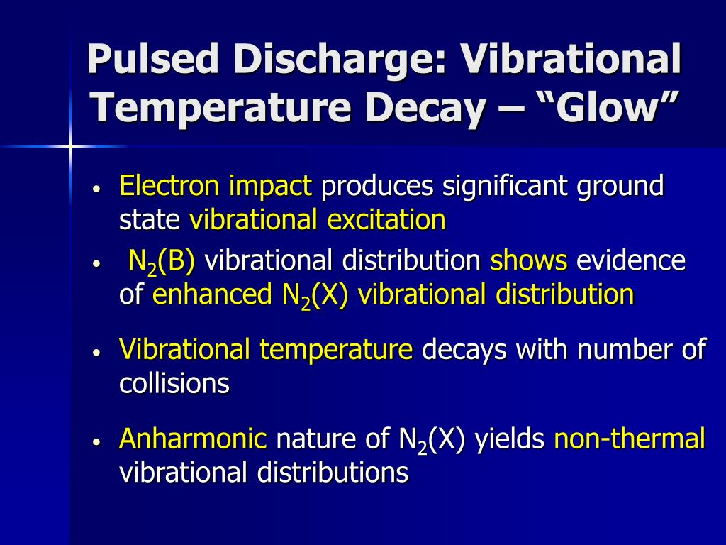 """Pulsed Discharge: Vibrational Temperature Decay – """"Glow"""""""