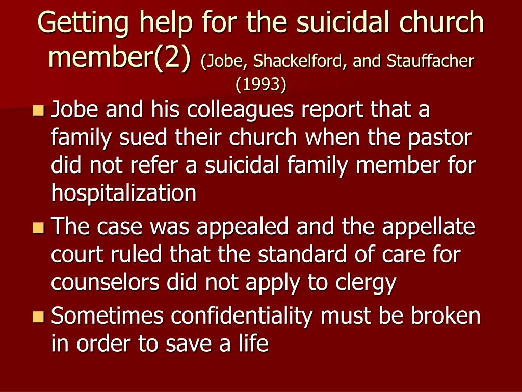 Getting help for the suicidal church member(2)
