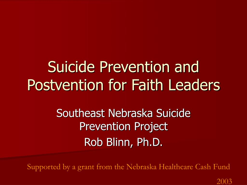 Suicide Prevention and Postvention for Faith Leaders