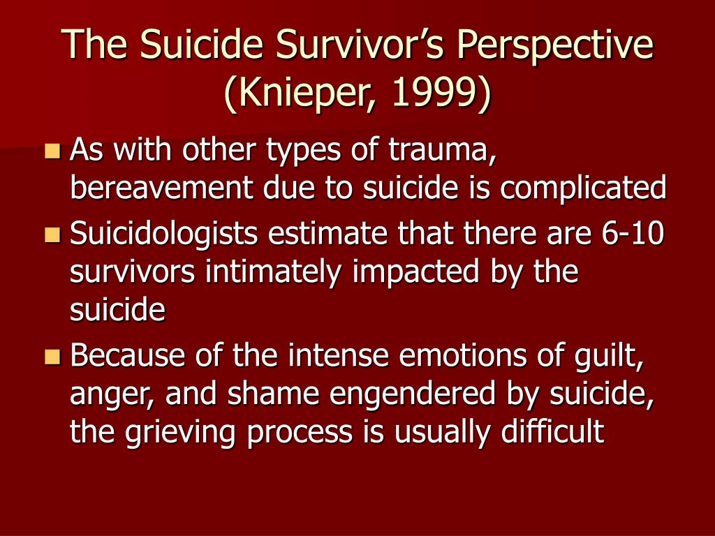 The Suicide Survivor's Perspective (Knieper, 1999)