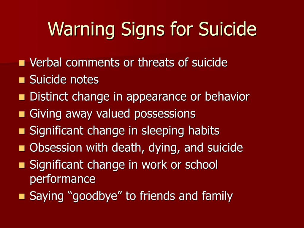 Warning Signs for Suicide