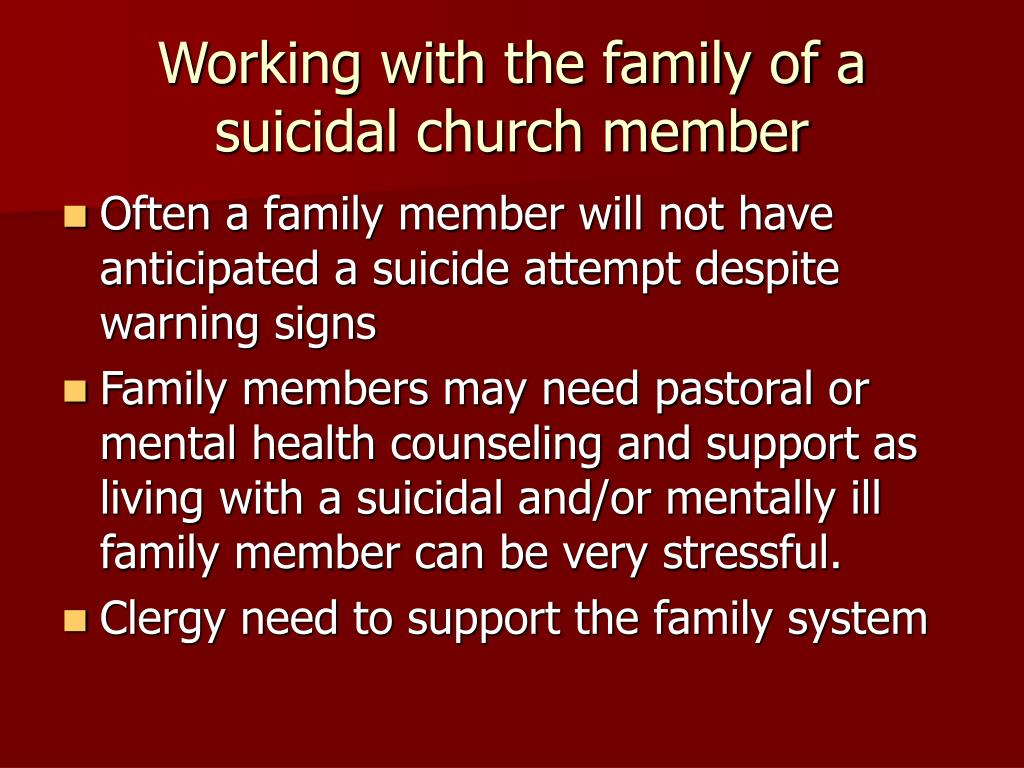 Working with the family of a suicidal church member