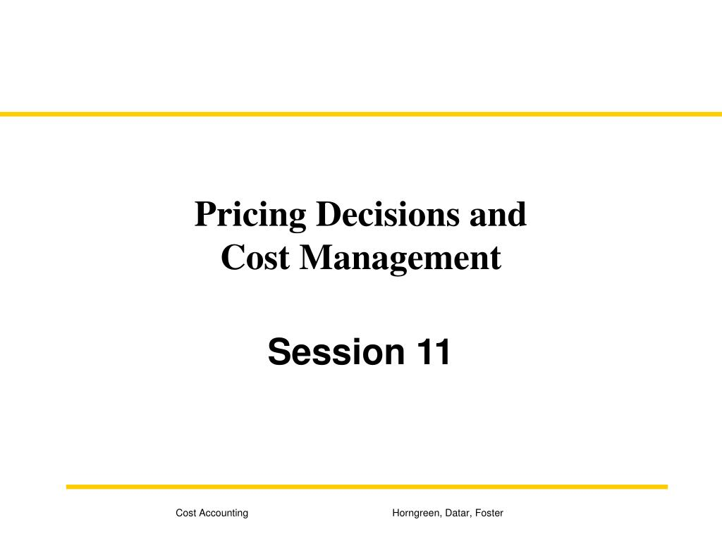 Pricing Decisions and
