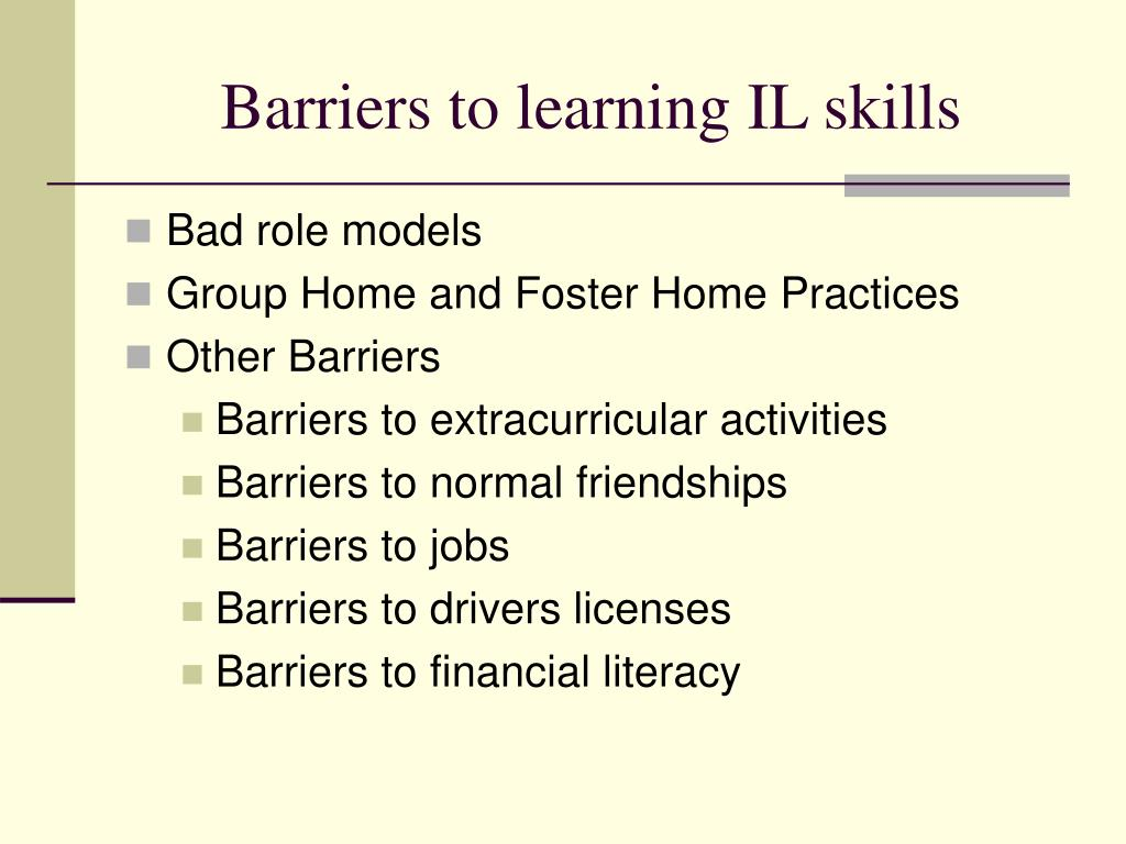 Barriers to learning IL skills