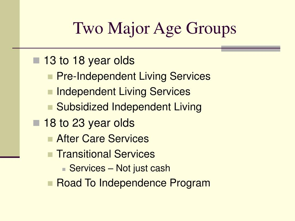 Two Major Age Groups