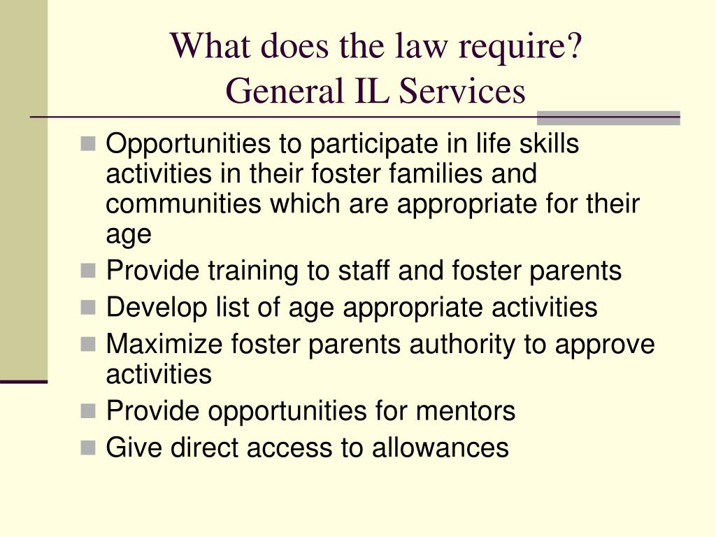 What does the law require?