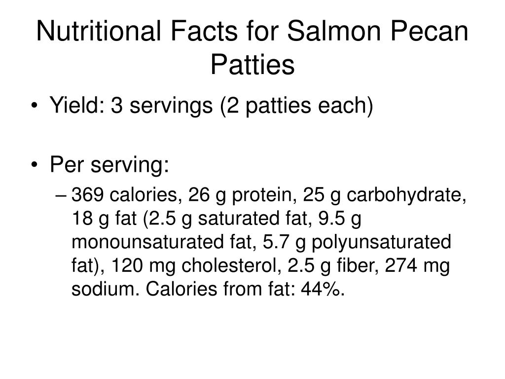Nutritional Facts for Salmon Pecan Patties