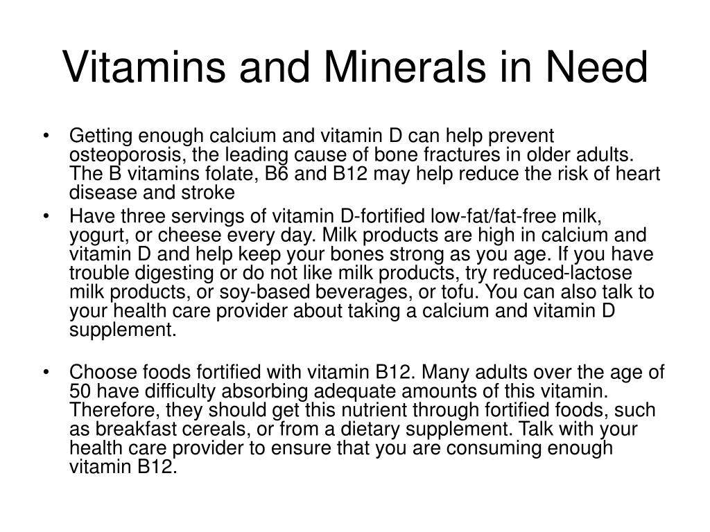 Vitamins and Minerals in Need