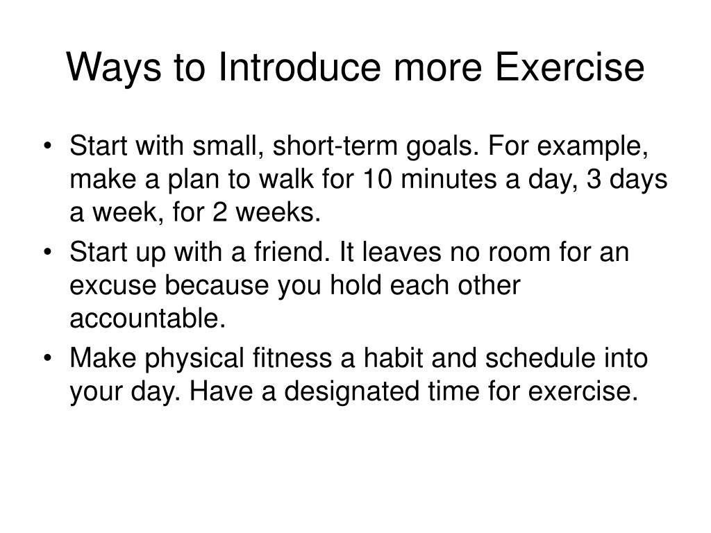 Ways to Introduce more Exercise