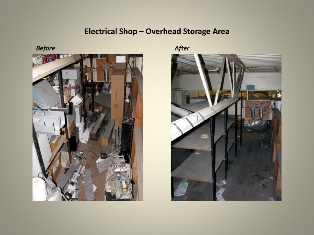 Electrical Shop – Overhead Storage Area