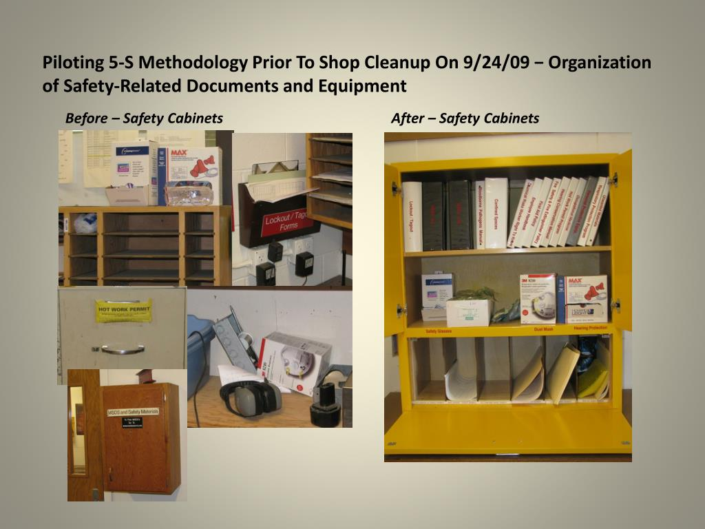 Piloting 5-S Methodology Prior To Shop Cleanup On 9/24/09 − Organization of Safety-Related Documents and Equipment