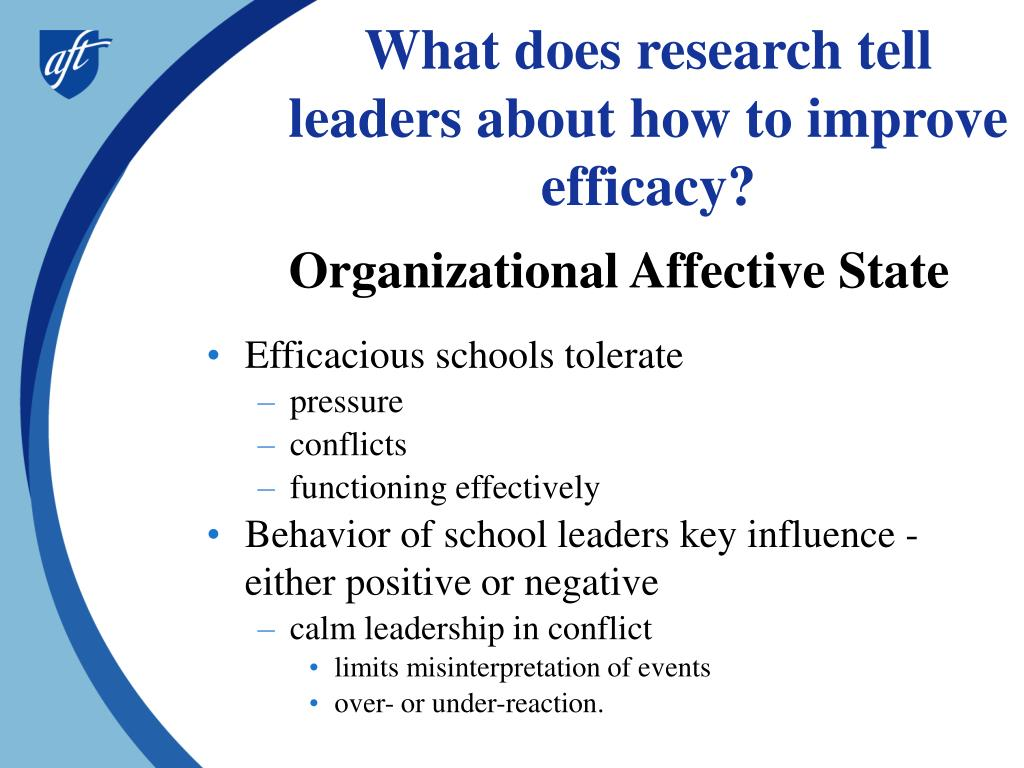 What does research tell leaders about how to improve efficacy?