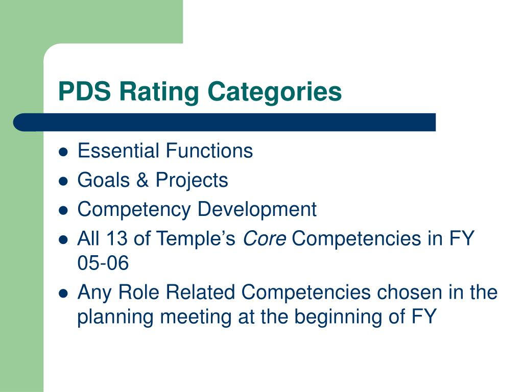 PDS Rating Categories