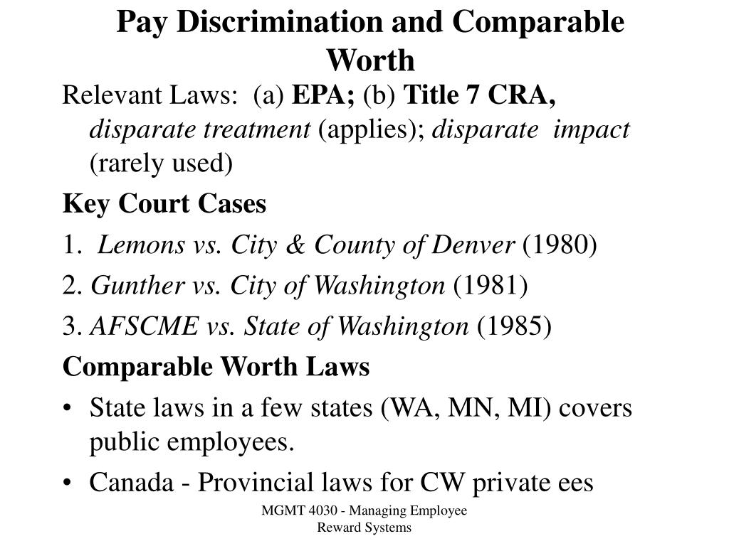 Pay Discrimination and Comparable Worth