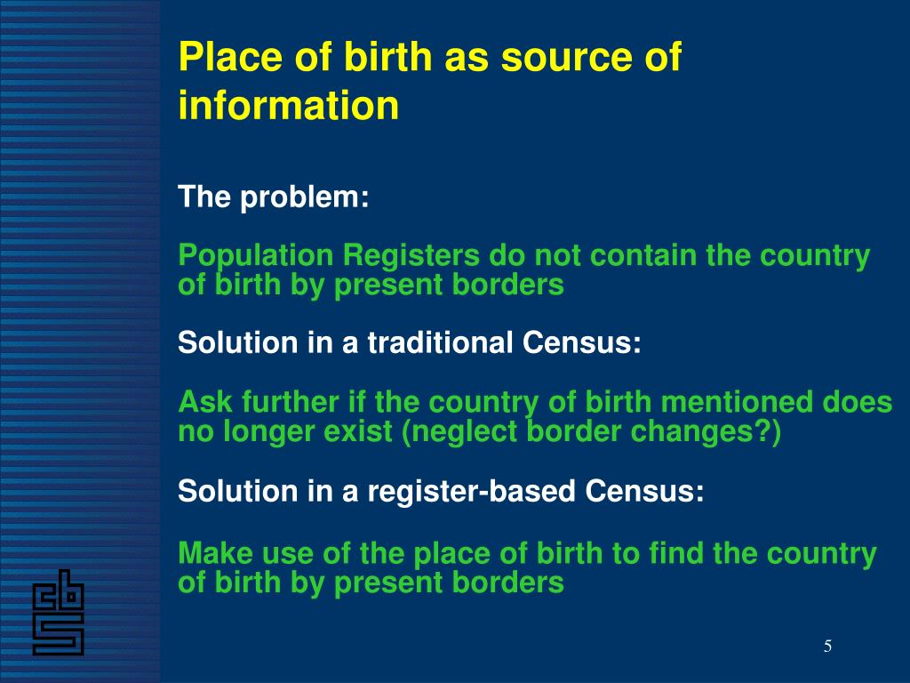 Place of birth as source of information