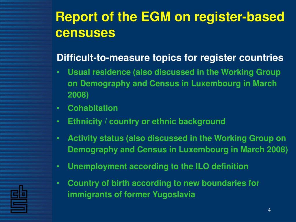 Report of the EGM on register-based censuses