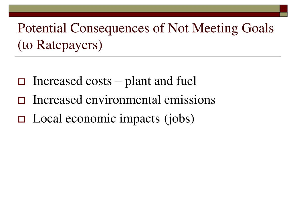 Potential Consequences of Not Meeting Goals (to Ratepayers)