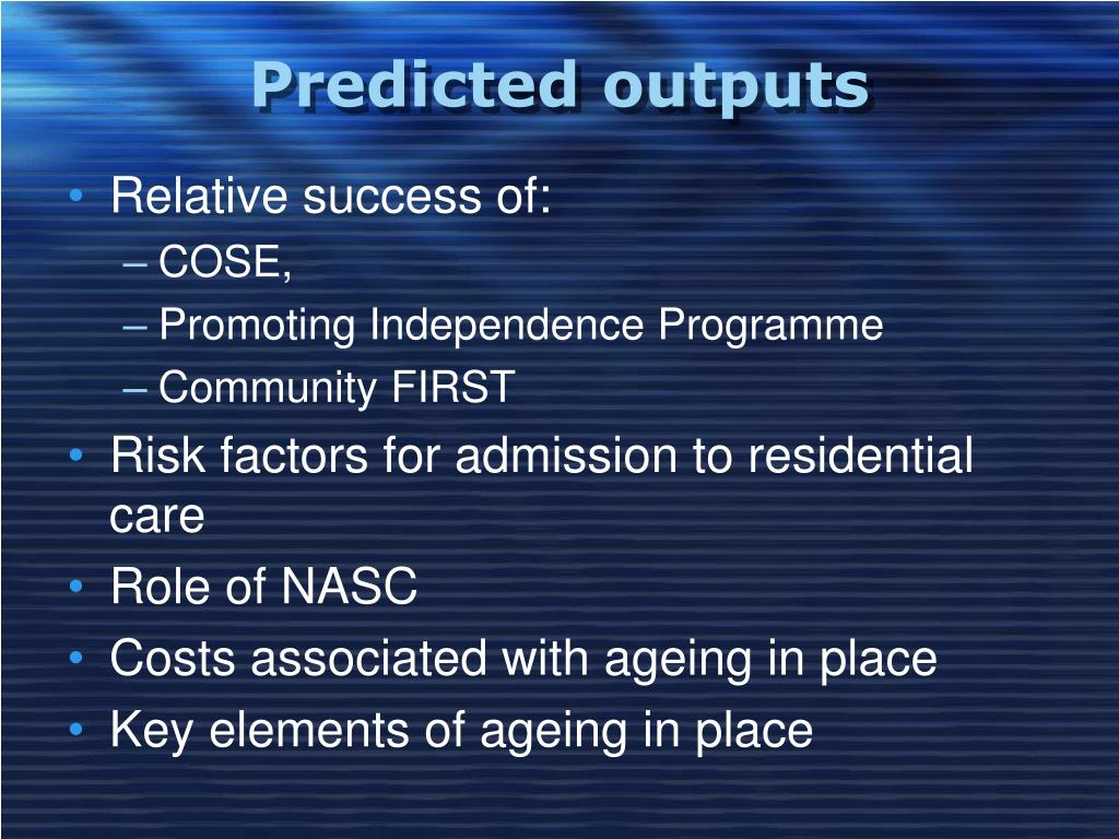 Predicted outputs