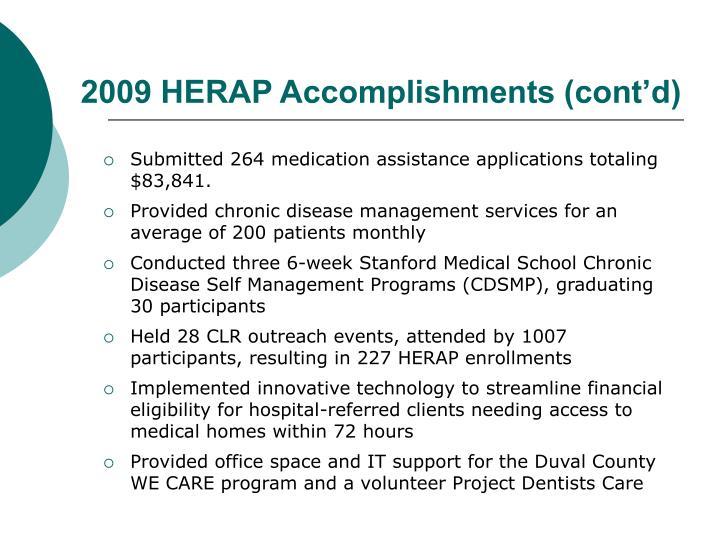 2009 HERAP Accomplishments (cont'd)