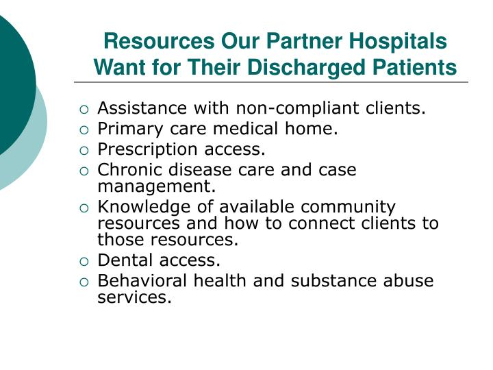 Resources Our Partner Hospitals Want for Their Discharged Patients