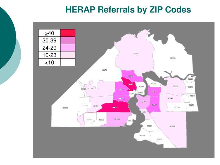 HERAP Referrals by ZIP Codes