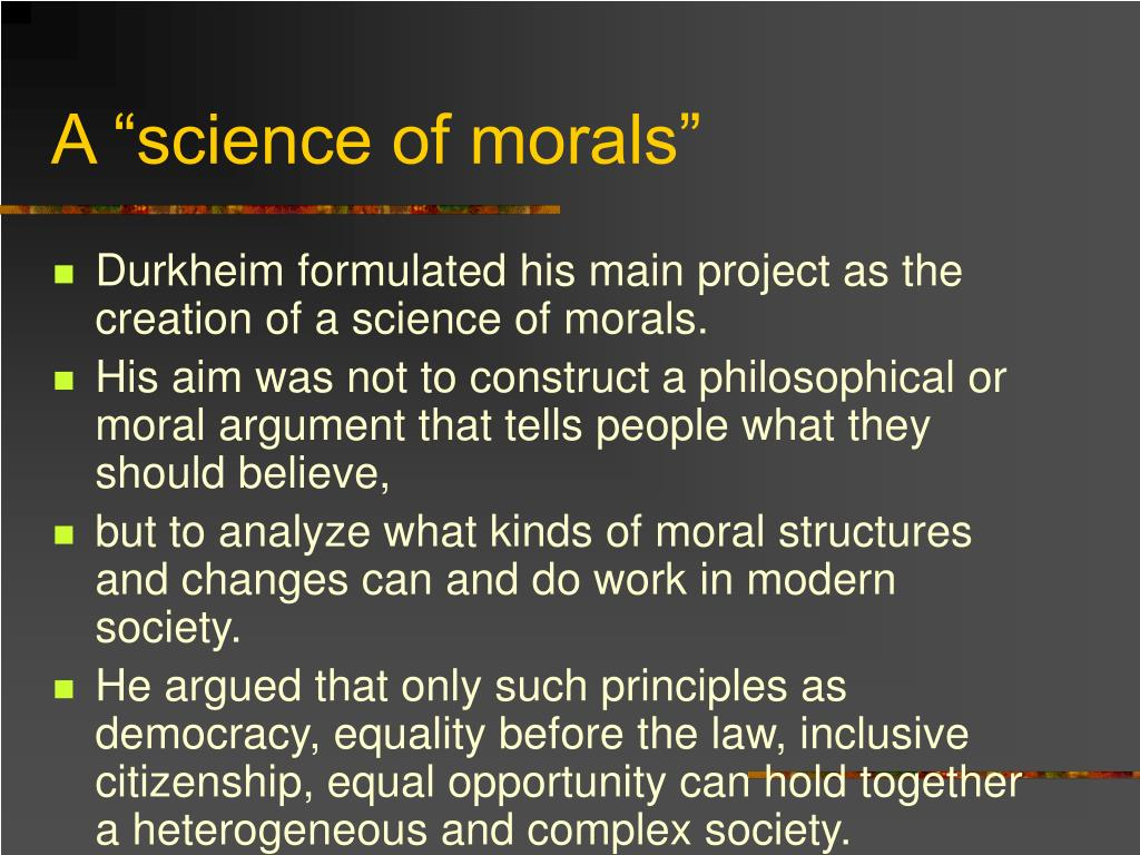 "A ""science of morals"""
