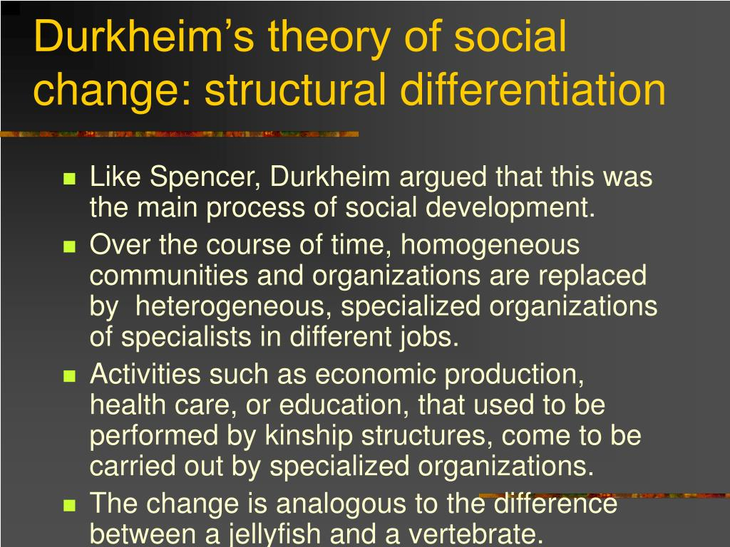 Durkheim's theory of social change: structural differentiation