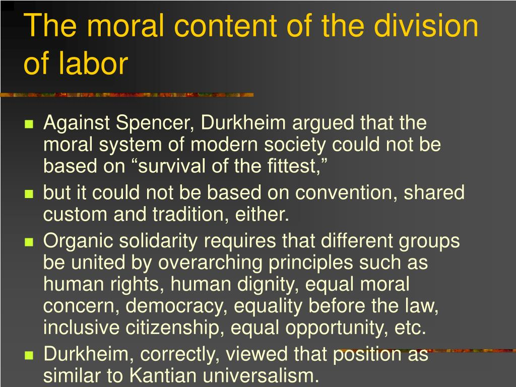 The moral content of the division of labor