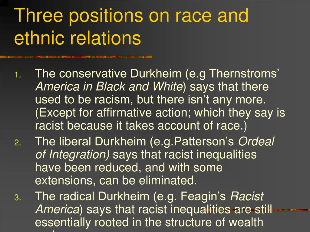 Three positions on race and ethnic relations